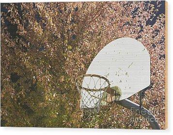 Basketball Hoop Wood Print by Andersen Ross
