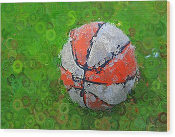 Basketball Orange White Green Abstract Wood Print by Geoff Strehlow