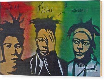 Basquait Me Myself And I Wood Print by Tony B Conscious