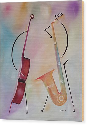 Bass And Sax Wood Print by Ikahl Beckford