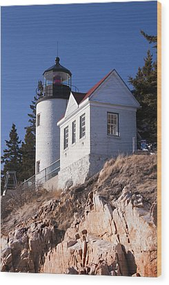 Bass Harbor Lighthouse Acadia National Park Wood Print by Glenn Gordon