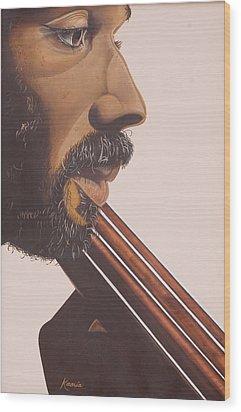 Bass Player Iv Wood Print by Kaaria Mucherera