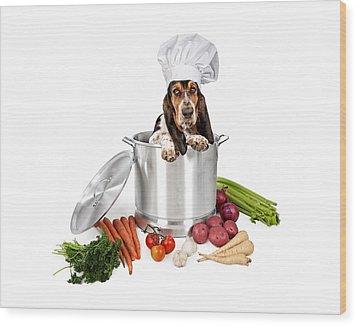 Basset Hound Dog In Big Cooking Pot Wood Print by Susan Schmitz