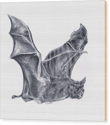 Bat Wood Print by Lucy D