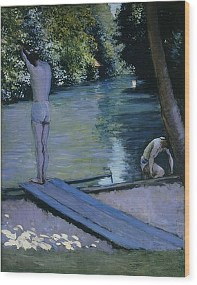 Bather About To Plunge Into The River Yerres Wood Print by Gustave Caillebotte