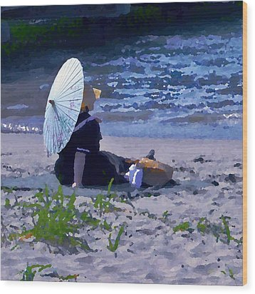 Bather By The Bay - Square Cropping Wood Print by David Coblitz