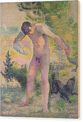 Bather Drying Himself At St Tropez Wood Print by Henri-Edmond Cross