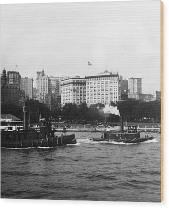 Battery Park And Lower Manhattan New York City - C 1904 Wood Print by International  Images