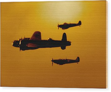 Battle Of Britain Flight At Dusk Wood Print by John Colley