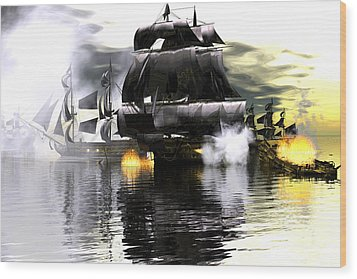 Battle Smoke Wood Print by Claude McCoy