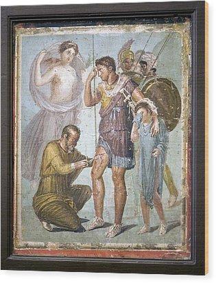 Battle Wounds Of Aeneas, Roman Fresco Wood Print by Sheila Terry
