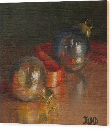 Baubles And Ribbon Wood Print by Debbie Lamey-MacDonald