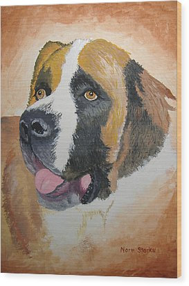 Wood Print featuring the painting Baxter by Norm Starks