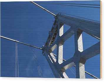 Bay Bridge And Blue Sky, San Francisco Wood Print by Jamie Jennings www.JJphotos.ca