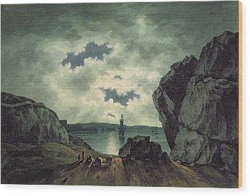 Bay Scene In Moonlight Wood Print by John Warwick Smith