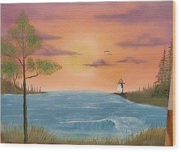 Bay Sunset Wood Print by Nick Ambler