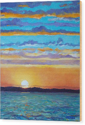 Bay Sunset Wood Print by Robert Henne