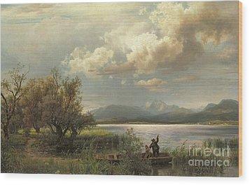 Bayern Landscape Wood Print by Augustus Wilhelm Leu