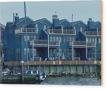 Wood Print featuring the painting Bayside Condos by Elinor Mavor