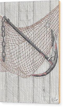 Beach Anchor And Net. Wood Print by Calvert Koerber