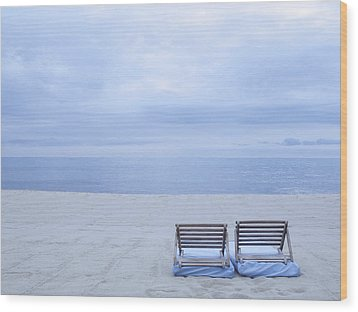 Beach And Chairs In St Tropez, French Riveira Wood Print by Ballyscanlon