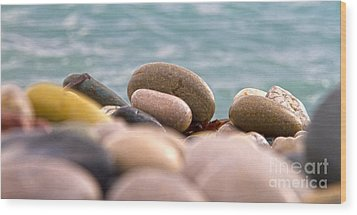 Beach And Stones Wood Print by Stelios Kleanthous