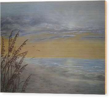 Wood Print featuring the painting Beach At Dawn by Kathleen McDermott