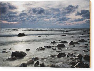 Beach At Dusk Wood Print by Carol Hathaway