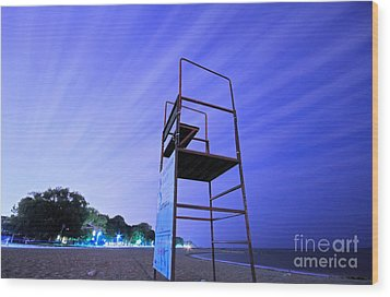 Beach At Night Wood Print by Charline Xia