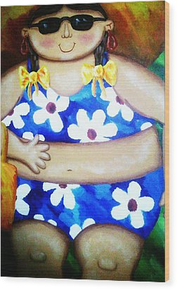Beach Babe Wood Print by Unique Consignment