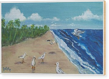 Beach Birds Wood Print by Paintings by Gretzky