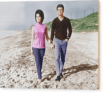 Beach Blanket Bingo, From Left Annette Wood Print by Everett