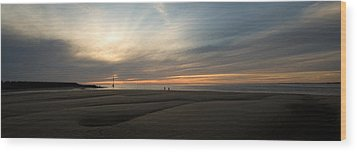 Beach Casters On The Wirral Wood Print by Wayne Molyneux