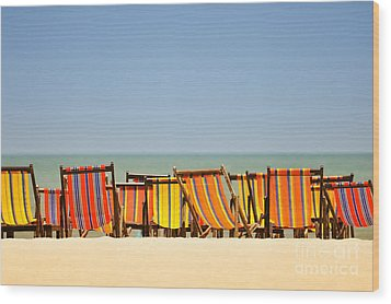Beach Chairs Colorful  Wood Print by Panupong Roopyai