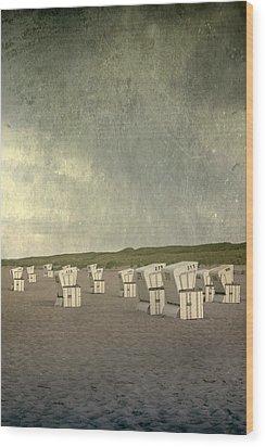 Beach Chairs Wood Print by Joana Kruse