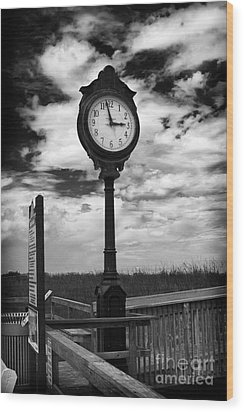 Beach Clock Wood Print by Thanh Tran