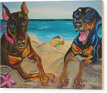 Beach Dawgs Wood Print