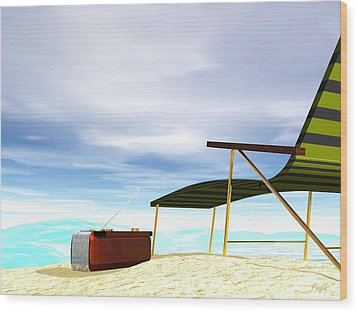 Wood Print featuring the digital art Beach Day by John Pangia