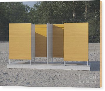 Beach Dressing Rooms Wood Print by Jaak Nilson