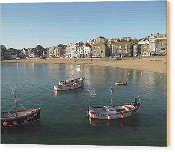 Beach Front, St Ives, Cornwall Wood Print by Thepurpledoor