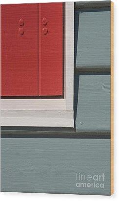 Beach House - Red Gray White Wood Print by Hideaki Sakurai
