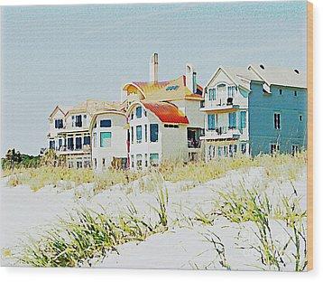 Beach House Wood Print by Carol  Bradley