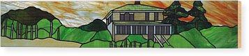 Beach House Wood Print by Jane Croteau