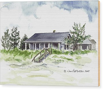 Wood Print featuring the painting The Little House On East Beach by Joan Hartenstein