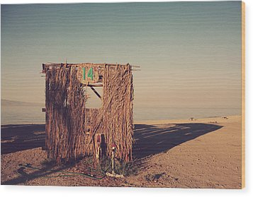 Beach Hut Number Fourteen Wood Print by Laurie Search