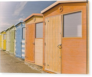 Beach Huts Wood Print by Phil Clements
