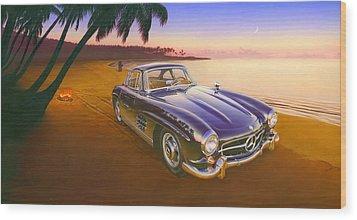 Beach Mercedes Wood Print by Andrew Farley