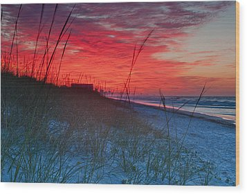 Beach On Fire Wood Print by At Lands End Photography
