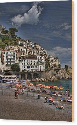Beach Scene In Amalfi On The Amalfi Coast In Italy Wood Print by David Smith