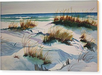 Wood Print featuring the painting Beach Shadows by Richard Willows